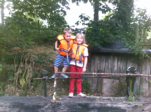 Annabelle & Henry on old lock gate 2011