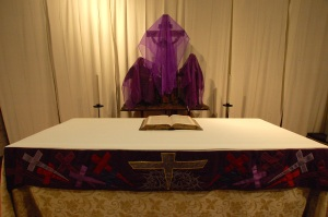 The altar in Lent