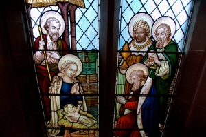 The nativity in stained glass - from our north west wall.